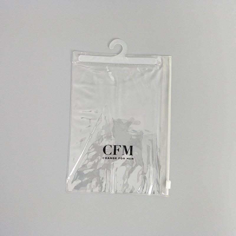 Transparent Pvc Plastic Underwear Packaging Bag With Hook and Zipper