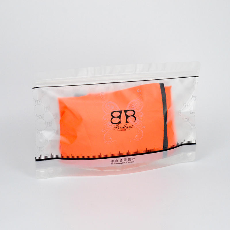 transparent underwear plastic zipper bag bottom to stand up black color printing