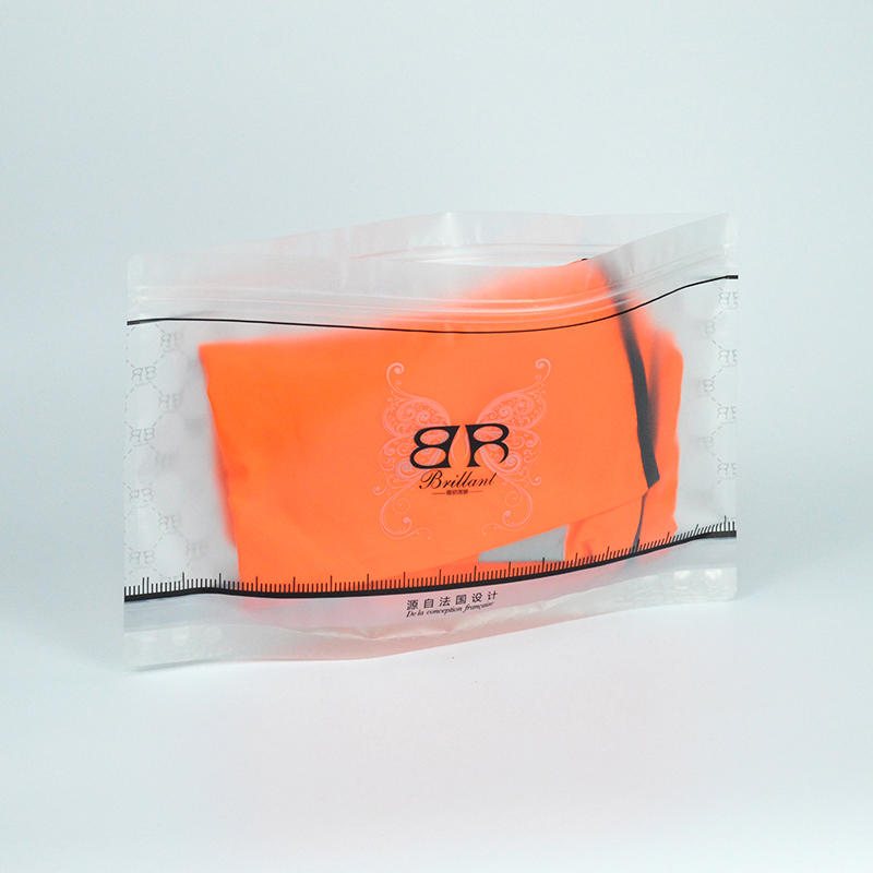 transparent underwear plastic zipper bag bottom to stand up black color printing