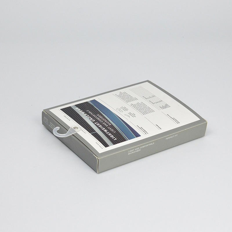 recycled paper packaging box for underwear With transparent plastic hook attached