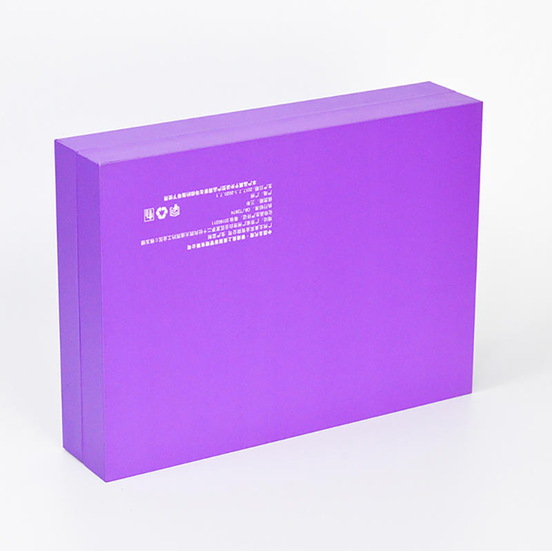 Purple Clamshell Cosmetics Packaging Box With Ribbon
