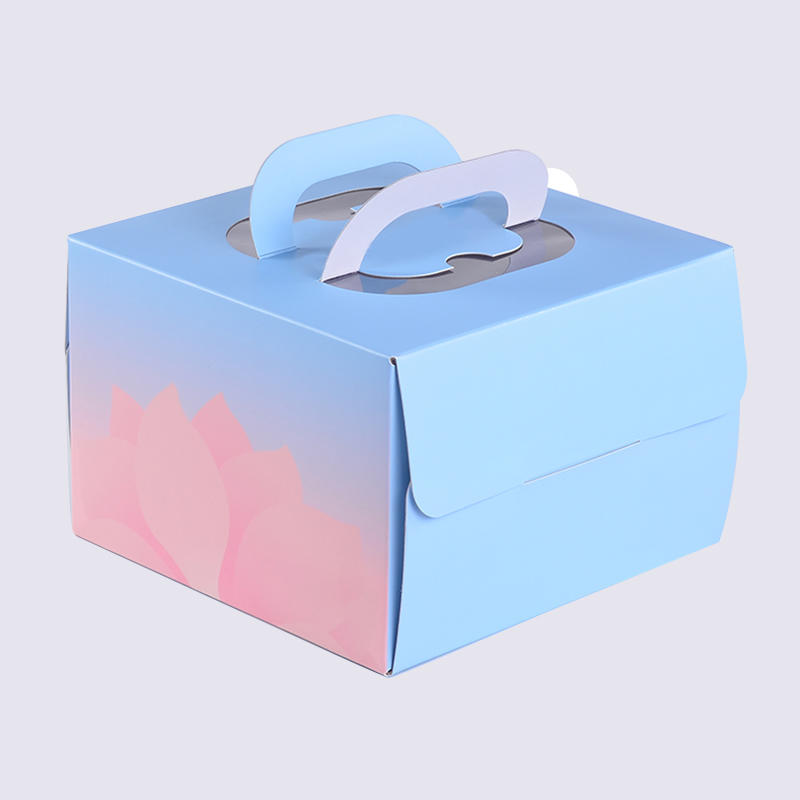Custom Paper Folding Cake Packaging Boxes With Handle