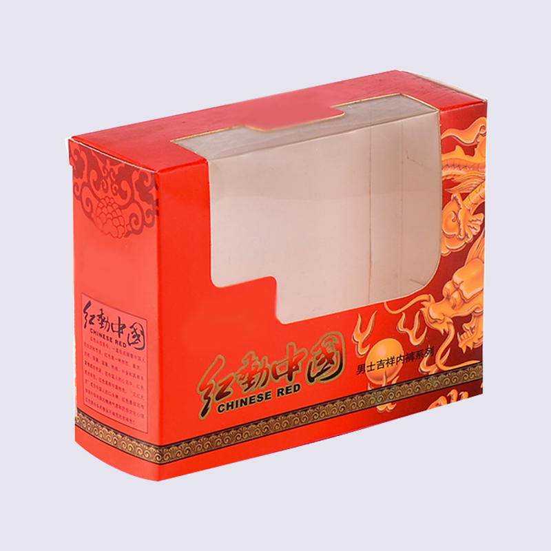 350g/400g copper underwear paper box with clear PET window