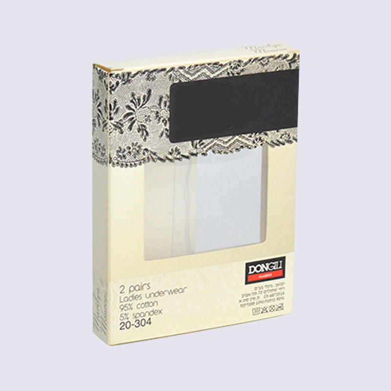 Lady's underwear packaging box With PVC window on both sides