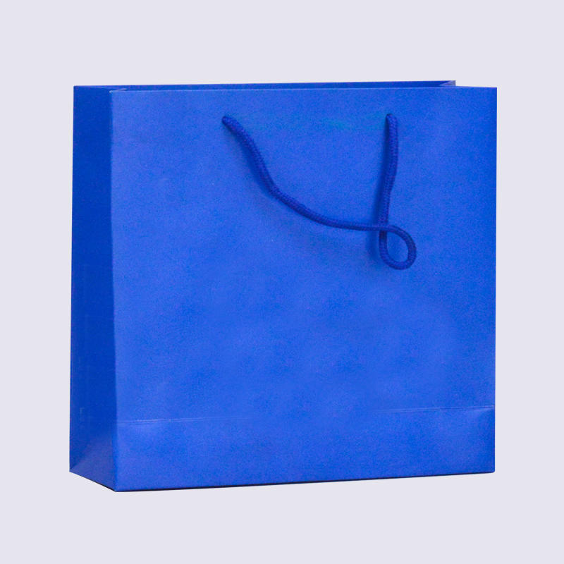 Blue Matte Clothing Paper Packaging Bag