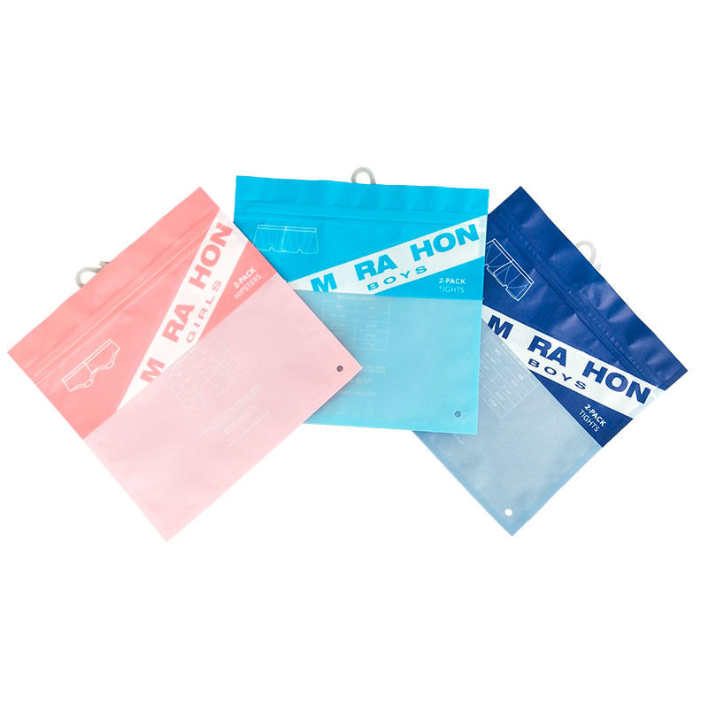 Half Transparen Top LaminatingPlastic Bag Underwear WIth Zipper