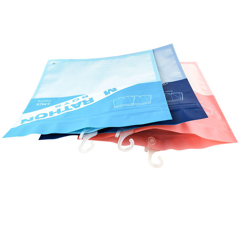 Half Transparen Top Laminating Plastic Bag Underwear WIth Zipper