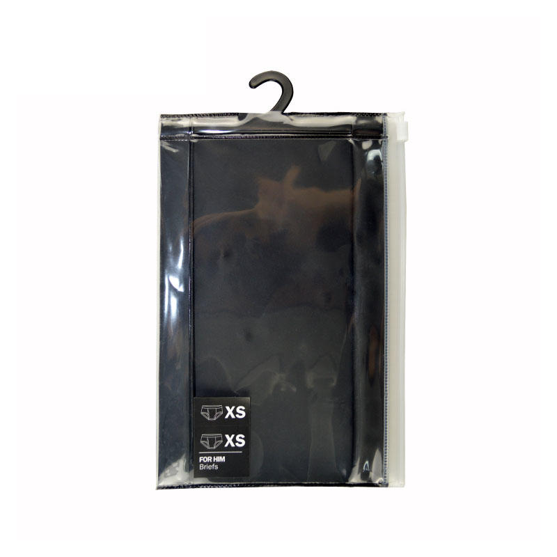 Clear Printed Ziplock Bag Men's Underwear Packaging Bag With Hook