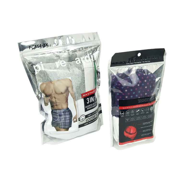 Custom Printed Stand Up Compound Plastic Underwear Bag Snack Packing Bag with Printing Adhesive Plastic Bag