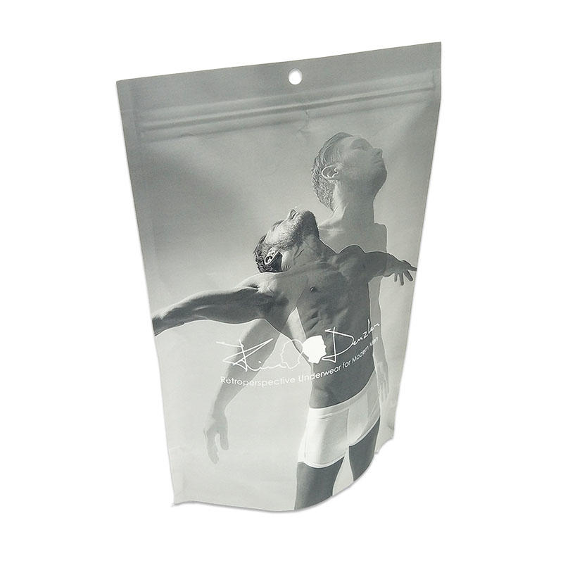 Wholesale aluminium foil stand-up ziplock packaging bags poly zipper bag pouch underwear packing bag