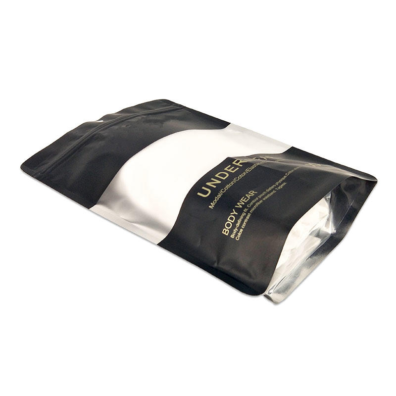 Custom printed zipper standup plastic matte black seal bag underwear storage bag bag for undergarments