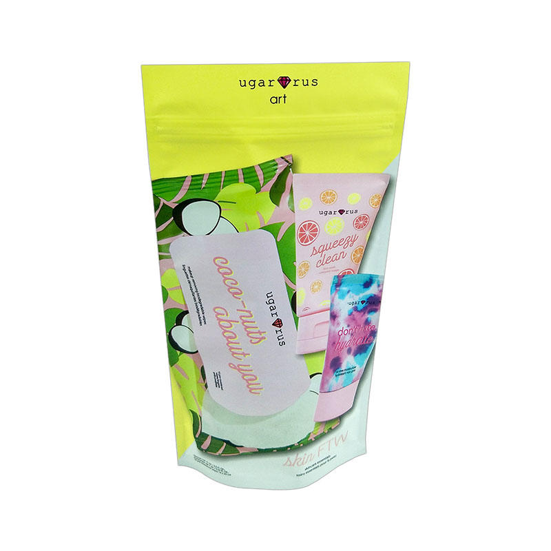 Custom high quality plastic packaging pouch colorful cosmetic plastic packaging bag