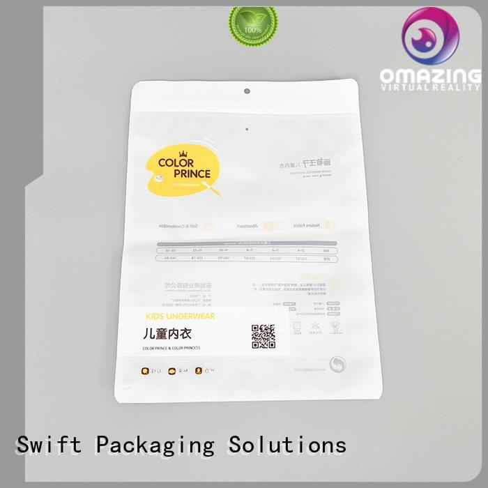 clear SWIFT custom printed plastic bags