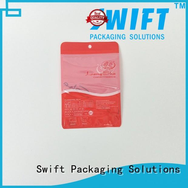 SWIFT transparent zip lock plastic bags directly sale for briefs